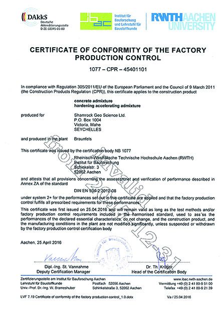 INVALID certificate of conformity of the factory production control