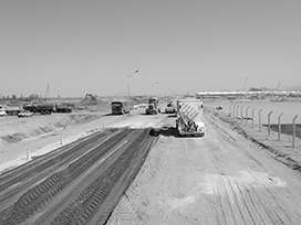 Evocrete - Manufacture of base layers for the creation of an operating road for the construction of the new ThyssenKrupp steel mill in Santa Cruz